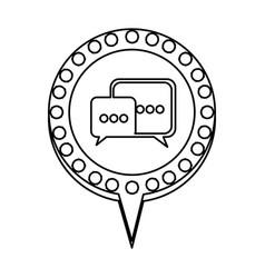 Monochrome silhouette of dialogue in circular vector