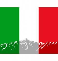 mountains with flag of Italy vector image vector image
