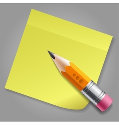 Orange pencil and yellow sticker reminder page vector image