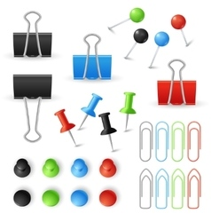 Paper clips binders and pins set vector