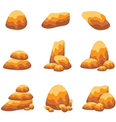 Rock and stone object set art vector