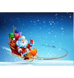 Santa Claus in a sleigh pulled by reindeer flying vector image