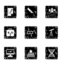 Science education icons set grunge style vector