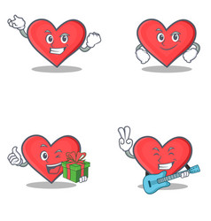 Set of heart character with successful smirking vector