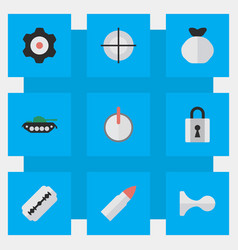 Set of simple crime icons elements cogwheel shot vector