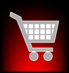 shopping cart sign postage stamp or old photo vector image