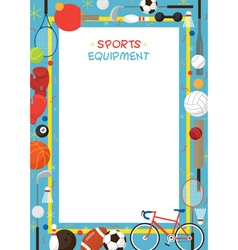 Sports Equipment Flat Icons Poster Frame vector image vector image