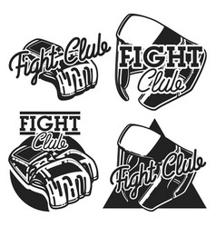 Vintage fight club emblems vector