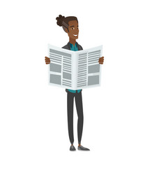 Young african-american man reading newspaper vector