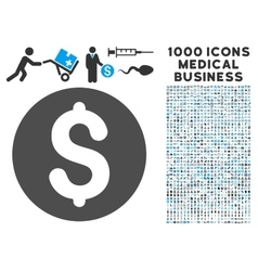 Coin icon with 1000 medical business pictograms vector