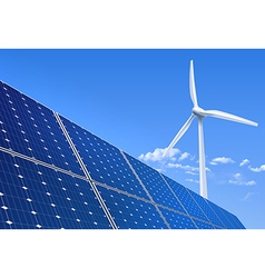 Solar panel and wind turbine vector