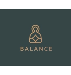 Meditation yoga linear logo design zen balance vector