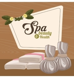 Spa beauty and health herbal compress and towel vector