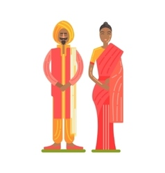 Couple wearing national costumes of red and orange vector