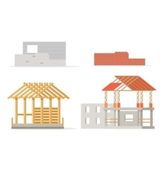 Industrial process of building new house stages vector