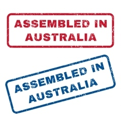 Assembled in australia rubber stamps vector