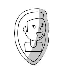 smiling girl female outline vector image