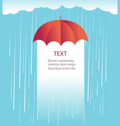 Rain clouds with red umbrellaprotects against rain vector