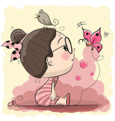 cute cartoon girl with bird and butterfly vector image