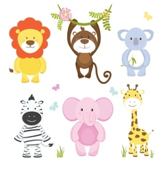 Set of cute cartoon wild animals vector