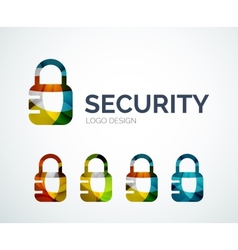 Lock logo design made of color pieces vector image