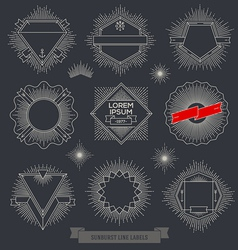 Set of line design emblem sign and hipster labels vector image