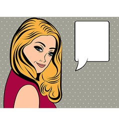 Cute retro woman with long blonde hair in comics vector