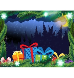Winter forest and christmas presents vector