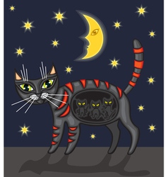 Night cat vector