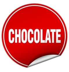 Chocolate round red sticker isolated on white vector