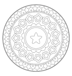 Coloring star round ornament vector