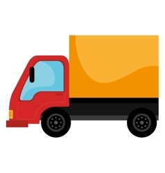 Yellow and red cargo truck vector