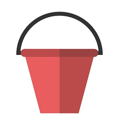 Red flat plastic bucket vector
