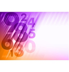Abstract numbers corner orange purple vector