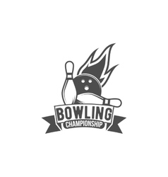 Bowling emblem label badge and designed elements vector