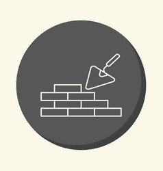 Brick masonry and trowel for brickwork vector