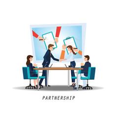 business partnership handshake vector image vector image