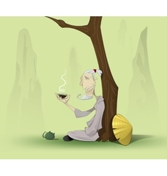 Chinese old man sitting under the tree vector