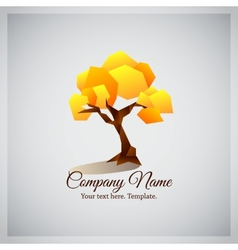 Company business logo with geometric yellow tree vector