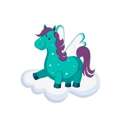 Cute pegasus on a cloud vector