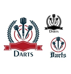 Darts sporting emblems or badges vector image vector image