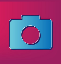 digital camera sign blue 3d printed icon vector image