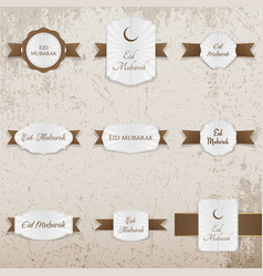 Eid mubarak festive badges set vector
