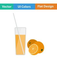 Flat design icon of Orange juice glass vector image