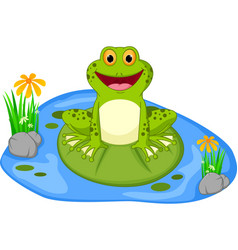 happy frog cartoon sitting on a leaf vector image vector image