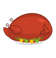 large big turkey for thanksgiving baked giant vector image vector image
