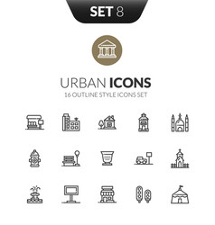 outline black icons set in modern design style vector image vector image