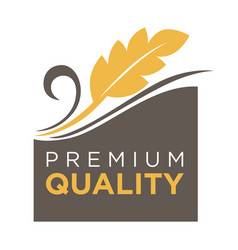 Premium quality whole grain logo with ears of vector