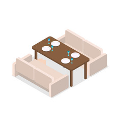 Restaurant inteior laid table and two sofas vector