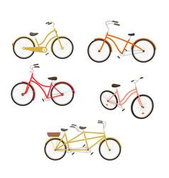 Retro bycicles set vector